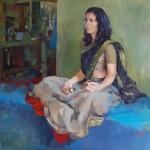 ©RocheGardies, la joueuse de ting-shas, huile sur toile 1mx1m Médaille de bronze au Salon des Artistes Français. trophée boesner 2015.